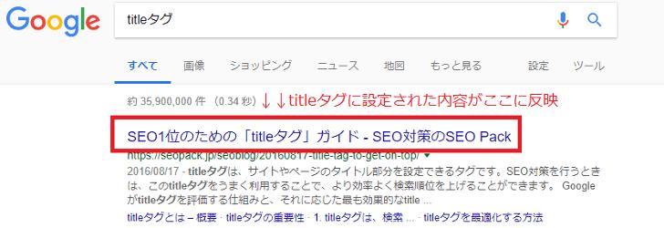 タイトルタグ設定した時の検索結果の表示
